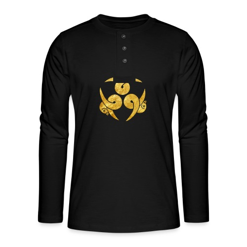 Three Geese Japanese Kamon in gold - Henley long-sleeved shirt