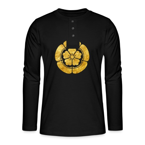 Oda Mon Japanese samurai clan faux gold on black - Henley long-sleeved shirt