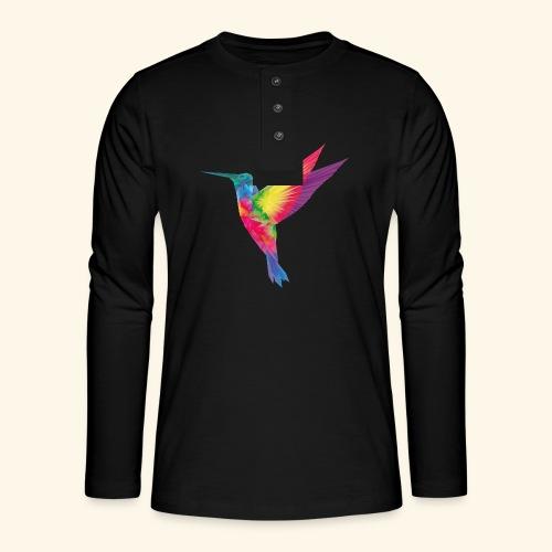 Kolibri - wild und frei - Henley Langarmshirt