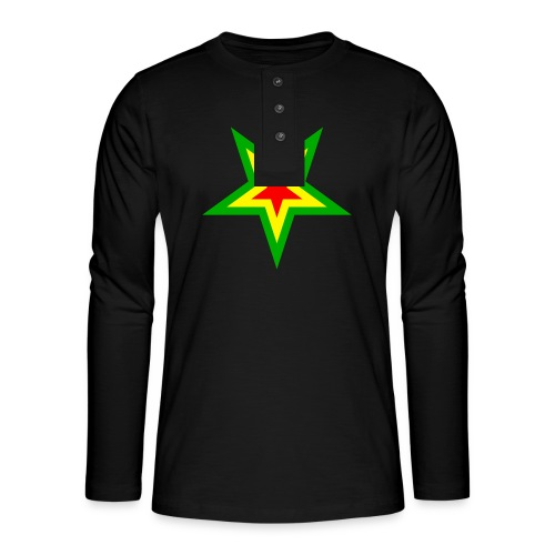 Stern rot, gelb, grün - Henley Langarmshirt