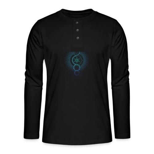 Sacred Geometry Metatron's Cube Gradient - Henley long-sleeved shirt