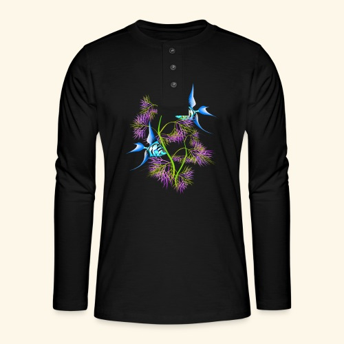 Tropical blue Fish Swimming around plants - Henley long-sleeved shirt