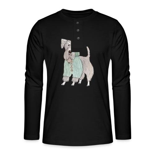 schnauzer with sweater - Henley T-shirt med lange ærmer