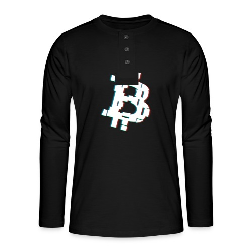 Glitched Bitcoin - Henley long-sleeved shirt