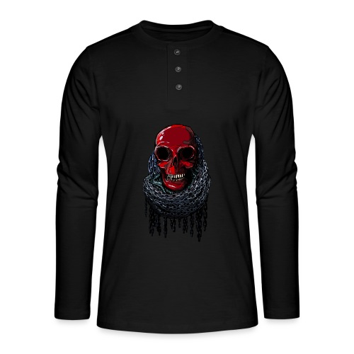 RED Skull in Chains - Henley long-sleeved shirt