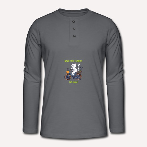 Caring About Climate? Save The Planet Go Bike! - Henley long-sleeved shirt