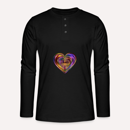 Colorful Love Heart Print T-shirts And Apparel - Henley long-sleeved shirt