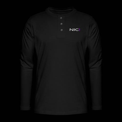 NICI logo WHITE - Henley pitkähihainen paita
