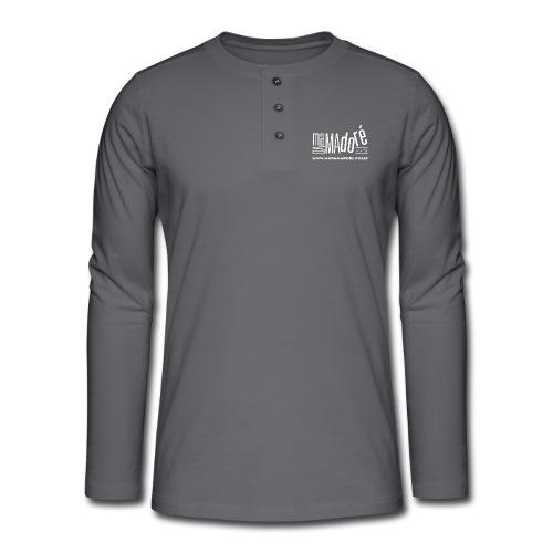 T-Shirt Premium - Uomo - Logo Bianco + Sito - Maglia a manica lunga Henley