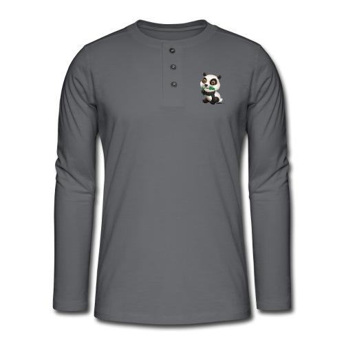 Panda - Henley T-shirt med lange ærmer