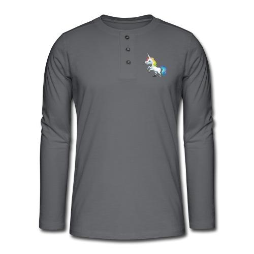 Regenboog eenhoorn - Henley shirt met lange mouwen