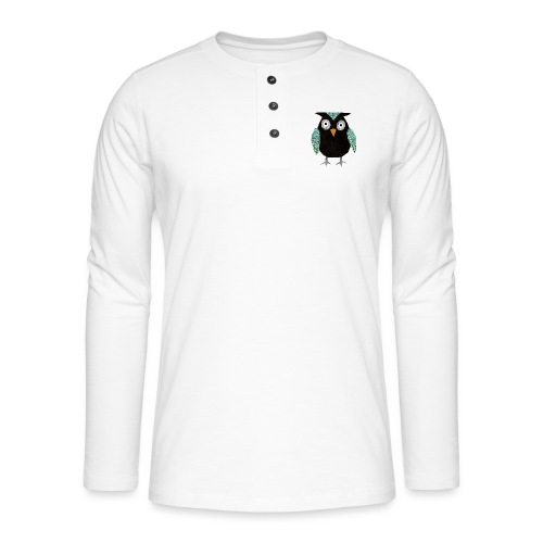 Collage mosaic owl - Henley long-sleeved shirt