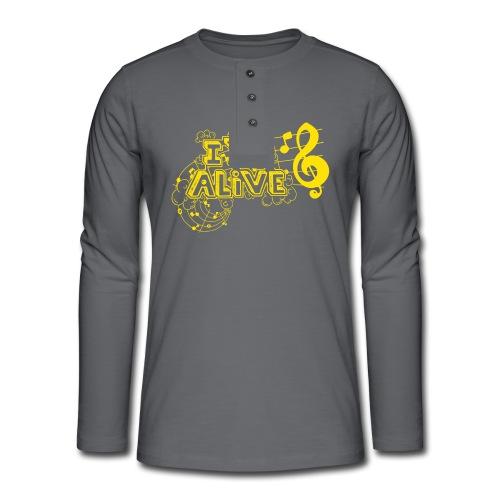 i m alive geel png - Henley shirt met lange mouwen