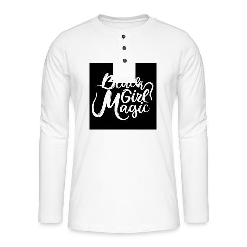 Black Girl Magic 1 White Text - Henley long-sleeved shirt