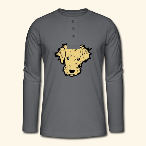 Süßer kleiner Hund T Shirt - Henley Langarmshirt