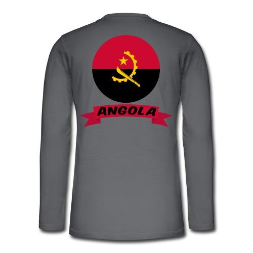 flag of Angola t shirt design ribbon banner - Maglia a manica lunga Henley