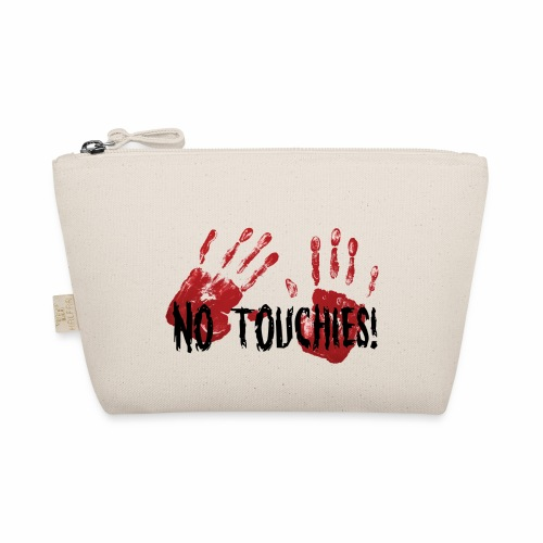 No Touchies 2 Bloody Hands Behind Black Text - The Wee Pouch