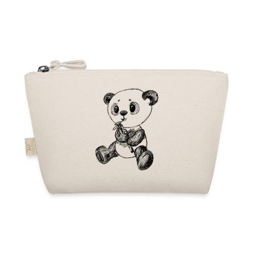 Panda bjørn sort scribblesirii - Små stofpunge