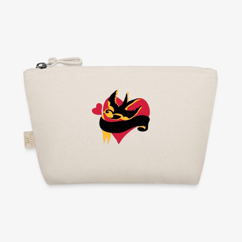 retro tattoo bird with heart - The Wee Pouch