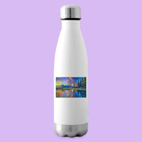 Paesaggio al tramonto con laghetto stilizzato - Termica Bottiglia