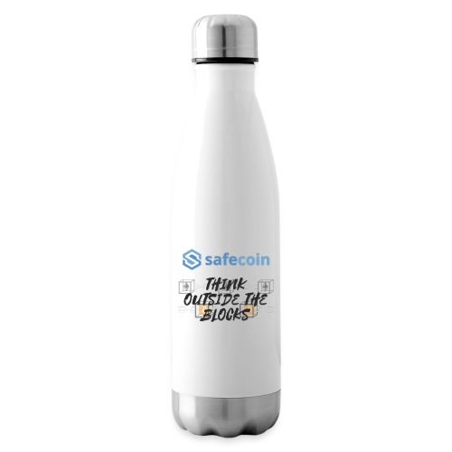 SafeCoin; Think Outside the Blocks (black + blue) - Insulated Water Bottle