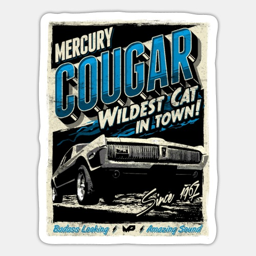 Mercury Cougar 1968 blau - Sticker
