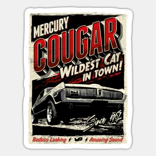 Mercury Cougar 1968 rot - Sticker