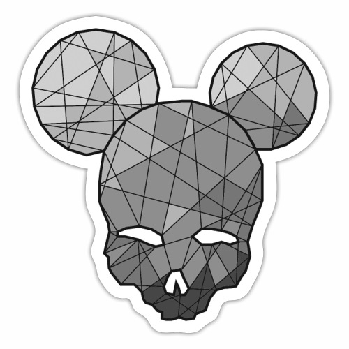 Poly skull Grey - Sticker