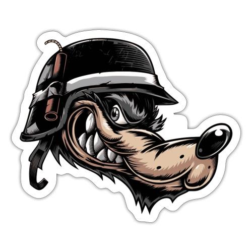 Wolf mit Helm - Sticker