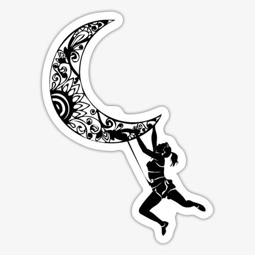 Climbing Woman Girl moon - Climber on the moon - Sticker