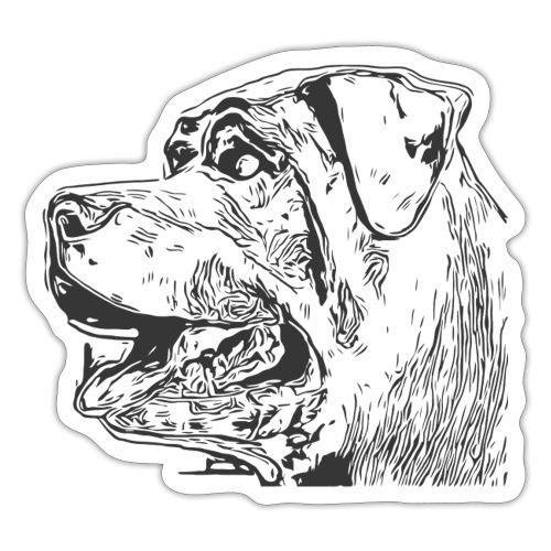 Rottweiler Mund offen schwarz - Sticker