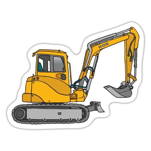 BAGGER, gelbe Baumaschine mit Schaufel und Ketten - Sticker