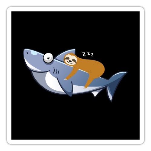 Sloth Riding Shark Funny Trend - Sticker