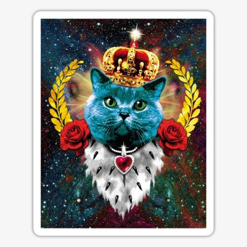 01 Blue Cat King Katze Queen Rosen - Sticker