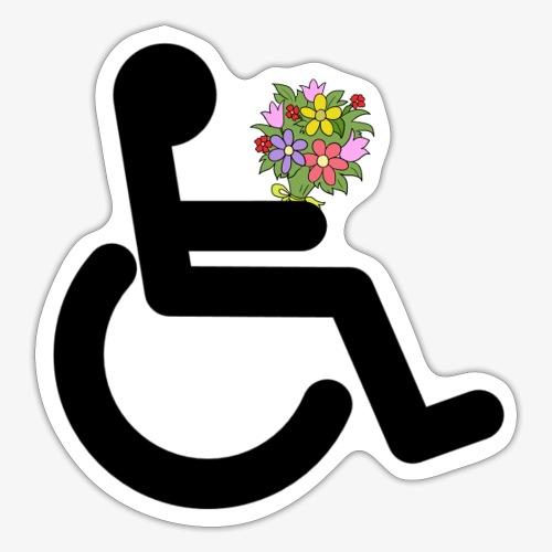Rolstoel gebruiker met bloemen - Sticker