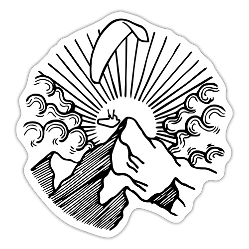 Mountain Sunrise Paraglider - Sticker