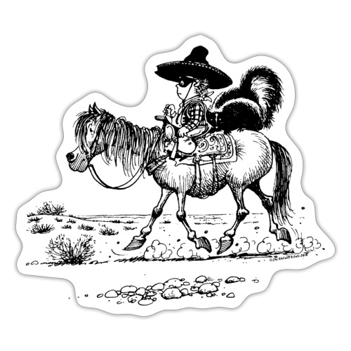 Thelwell 'Cowboy with a skunk' - Sticker