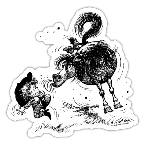 Thelwell 'Pony sticks out his tounge. - Sticker