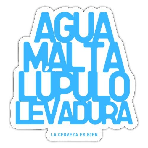 agua malta lupulo levadura AZUL - Pegatina