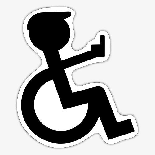 Rolstoel rijder laat middelvinger zien 002 - Sticker
