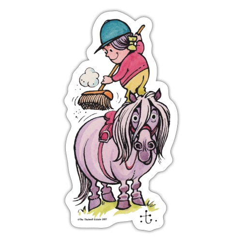 Thelwell Rider Cleaning Their Horse - Sticker