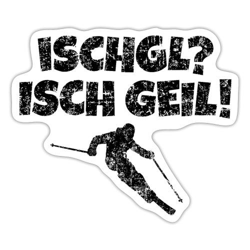 Ischgl Ischgeil (Vintage Schwarz) Ski Skifahrer - Sticker