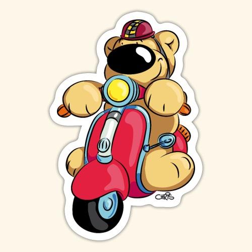 Der Bär fährt Roller - Sticker