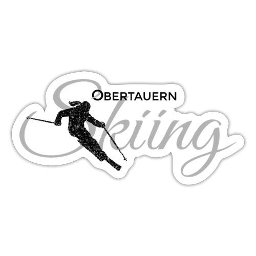 Obertauern Skiing (Grau) Apres-Ski Skifahrerin - Sticker
