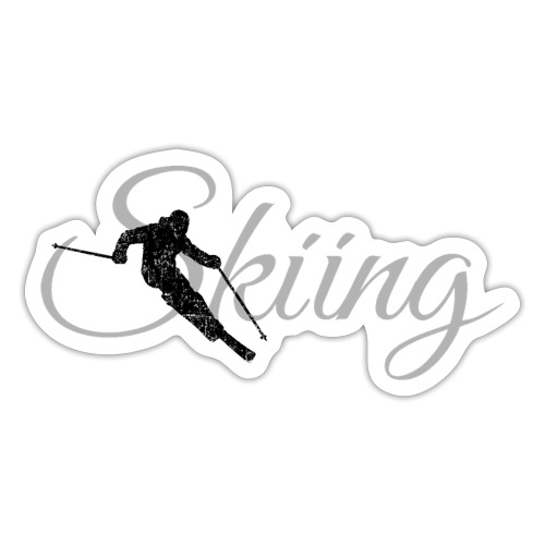 Skiing Skifahrer (Grau) Wintersport Apres-Ski - Sticker