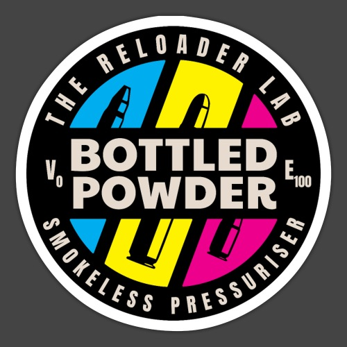 """Bottled Powder""-Shirt für Wiederlader - Sticker"