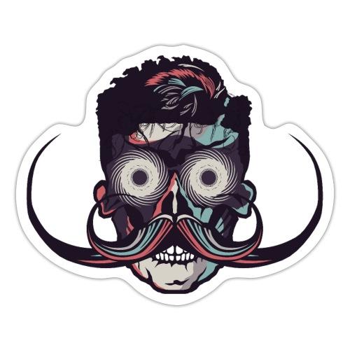 hipster tete de mort crane barbu skull moustache b - Autocollant