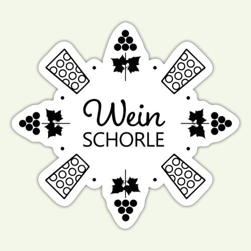 Weinschorle - Trauben - Dubbegläser - Rebenblätter - Sticker