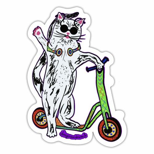 Chat Trottinette - Sticker