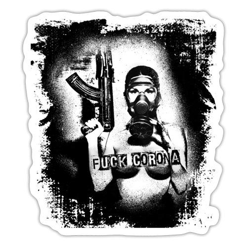 masked girl with AK - FUCK CORONA 4 white clothes - Sticker